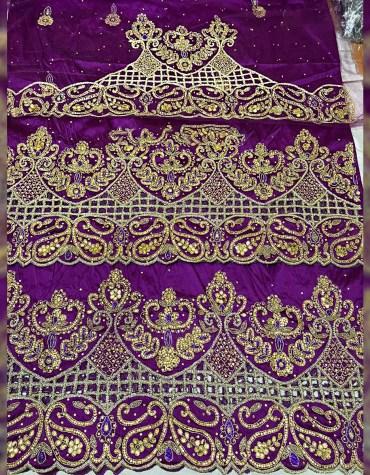 Trendy Heavy Beaded Wedding Dress Material Silk Nigerian George Wrapper For Women
