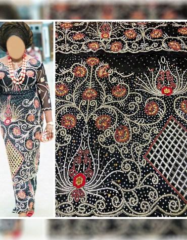 African Attire Nigerian Bridesmaid Beaded Wrapper Taffeta George Fabric Dress Material