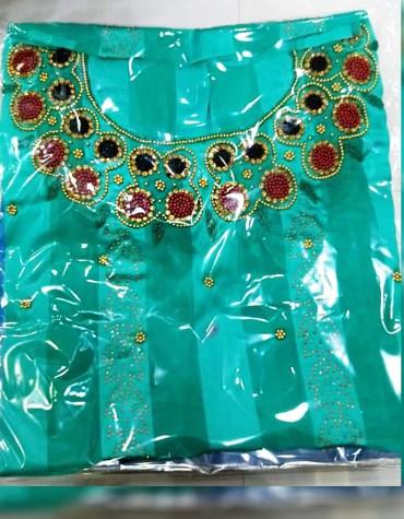 Elegant Stylish Clothes Party Wear Rhinestone Work Satin Silk Dress Material For Women