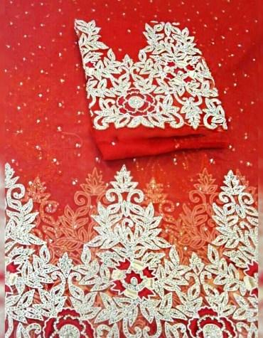 Classic Nigerian Designer Heavy Beaded George Wrapper Wedding Dress For Women