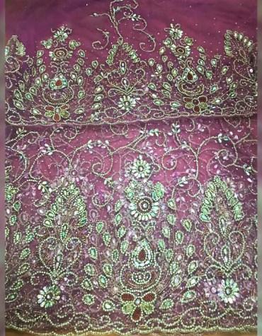 Designer Trendy Heavy Beaded Wedding Dress Material Silk Nigerian George For Women