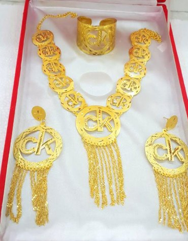 New 2021 African Party Gold Platted Necklace & Earrings Jewelry Set For Women