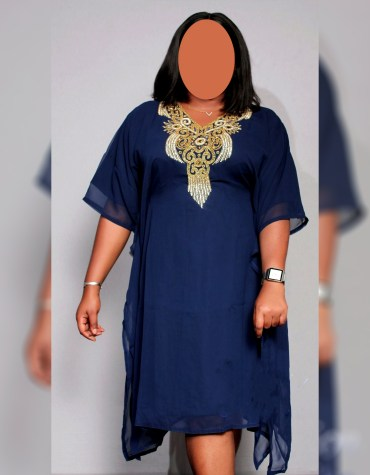 chiffon kaftan African Attire Dress with Beaded and Crystal Stone For Women