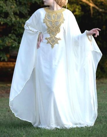 Evening Party Wear Chiffon Kaftan Golden Pearl Beaded Dress for Women