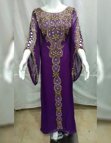 Evening Party Wear Chiffon Kaftan with Golden Crystal Stone and Beaded Work