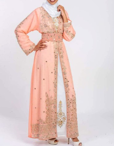 Plus Size Golden Beads Kaftan with Jacket Wedding Guest Party wear for Women