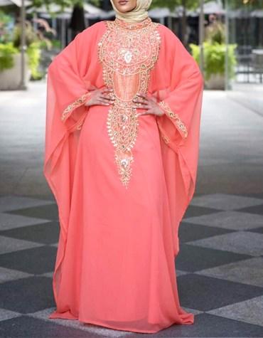 African Attire Womens Wear Formal Chiffon Kaftan with Golden Beaded Dress
