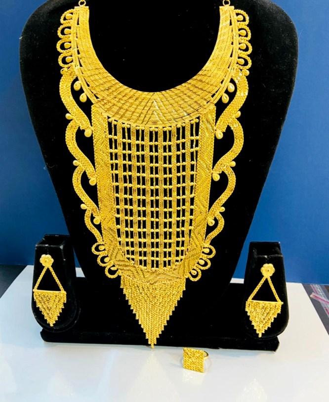 2 Gram Gold Evening Party Wear Designer Necklace Jewellery Set For Women