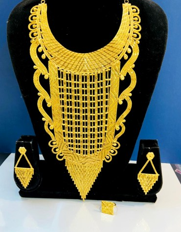 2 Gram Gold Evening Party Wear Designer Necklace Jewellery Set For Women
