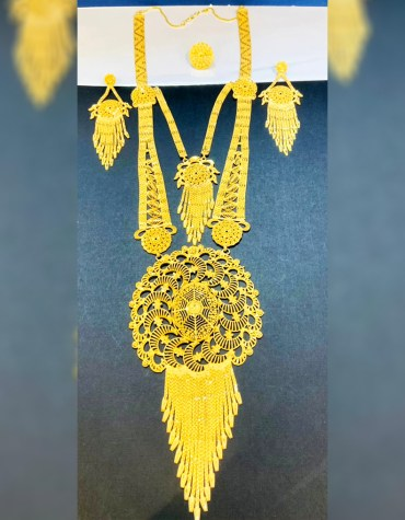 2 Gram Gold Long Layer Necklace and Earrings full Jewellery Set for Women