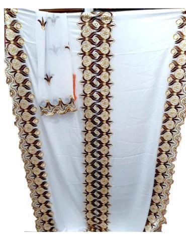 Satin Silk Formal Embroidery Designer African Attire Dress Materials For Women