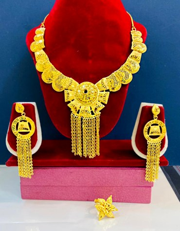 2 Gram Gold Fabulous Evening Party Wear Designer Necklace Jewellery Set