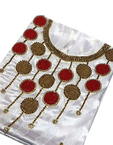 Satin Silk African Attire Party Wear Gold and Red Seed Beaded Stunning Dress Material