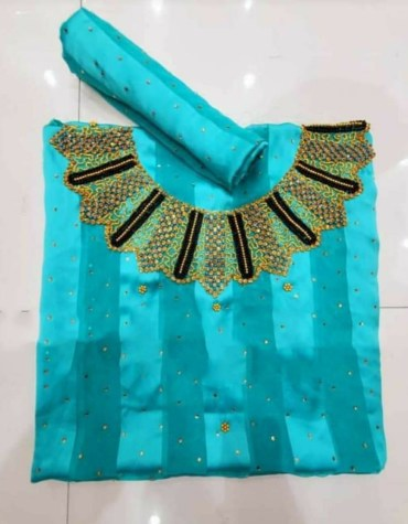 Latest African Attire Designer Satin Silk Embroidered Moroccan Beaded Dress Material