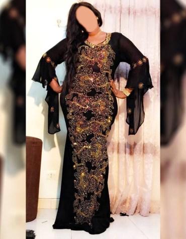 African Attire Chiffon Kaftan Dress For Women Dubai Embroidery Work For Wedding & Party Wear