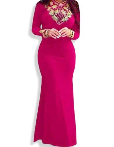 New Designer Party Wear African Women Attire Floor Length Spandex Bridesmaid Kaftan