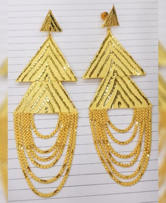 Latest Golden Earring & Finger Ring Designer Earring Set For Wedding & Party Set For Women