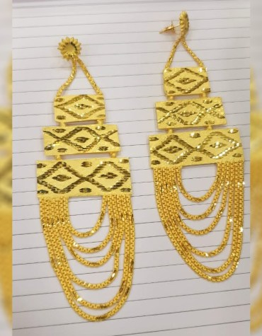 Trendy Golden Earring & Finger Ring Designer Earring Set For Wedding & Party Set For Women
