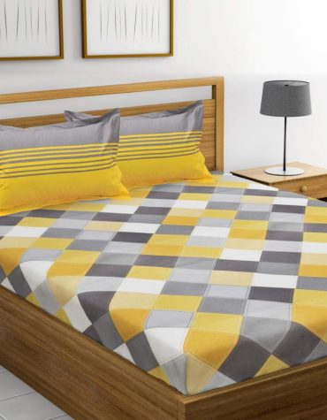 Ahmedabad Cotton 144 TC Cotton King Bedsheet with 2 Pillow Covers