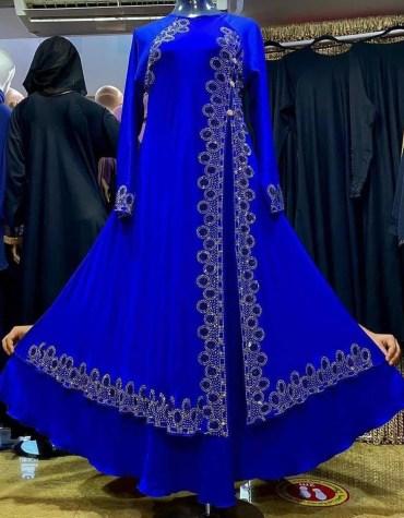 New Fancy Designer African Dress Front Slit Chiffon Kaftan For Women Party Wear