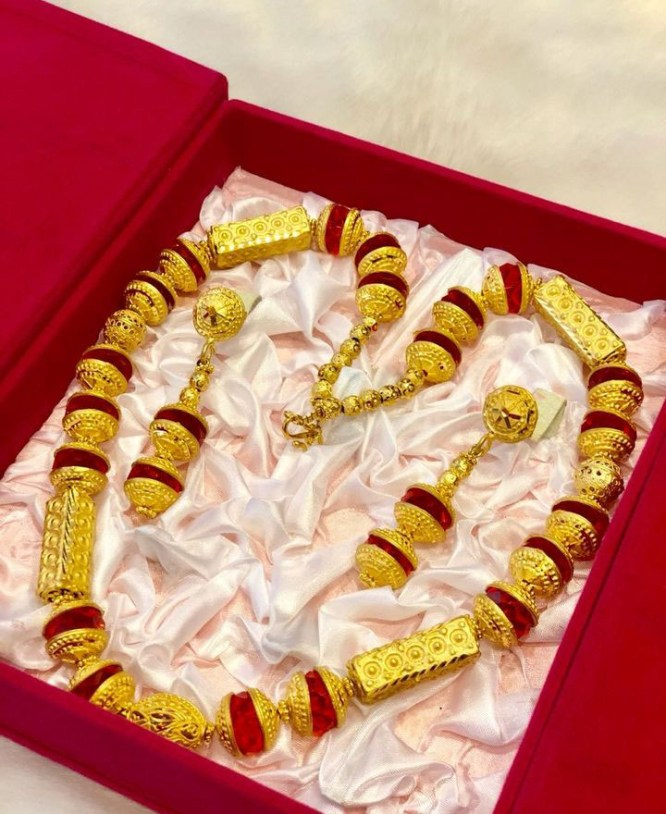 African 2 Gram Gold Crystal Bead Jewellery Necklace and Earrings Set For Women