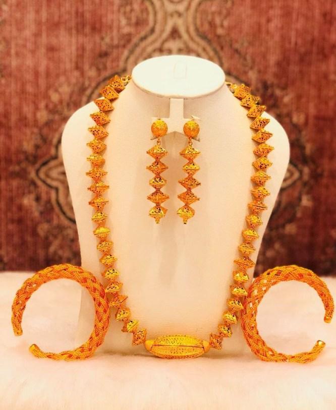 Antique 2 Gram Gold Zig Zag Bead 3 Pieces Jewellery Set For Women Evening Party