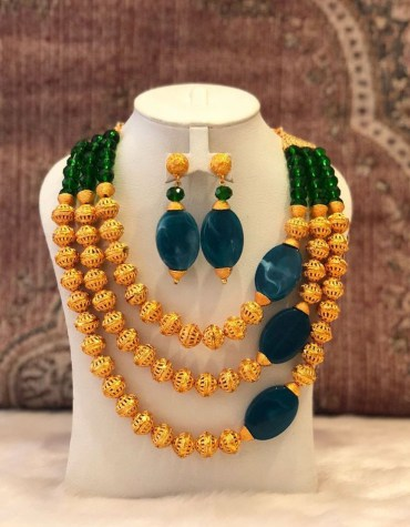 2 Gram Gold Marble Stone Beads Jewellery Necklace and Earrings Set For Women