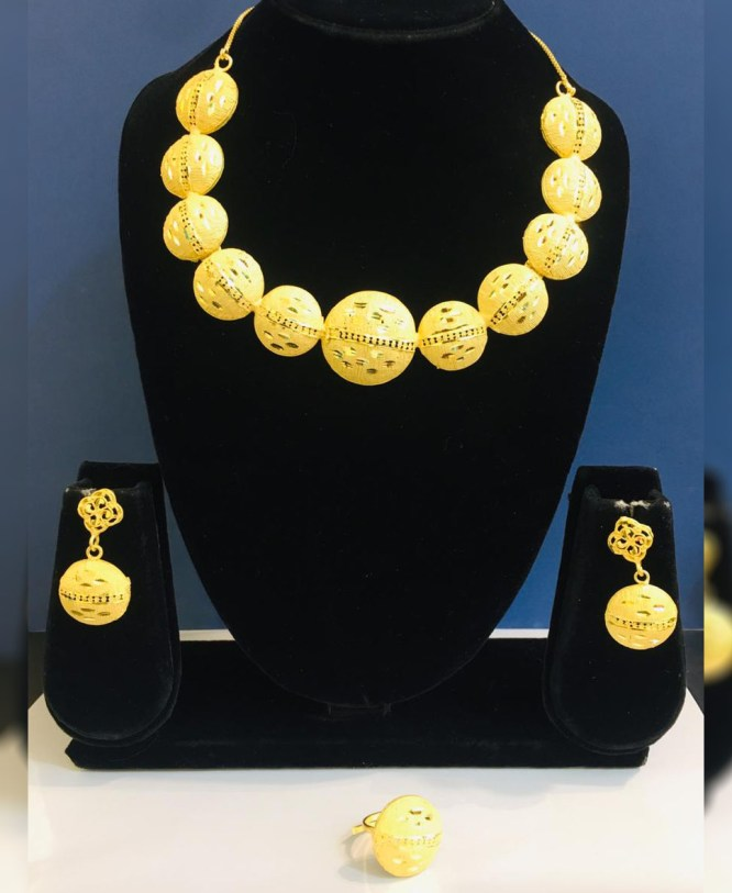 New Stylish Look 2 Gram Gold Plated Necklace & Earing Jewellery Set For Women's