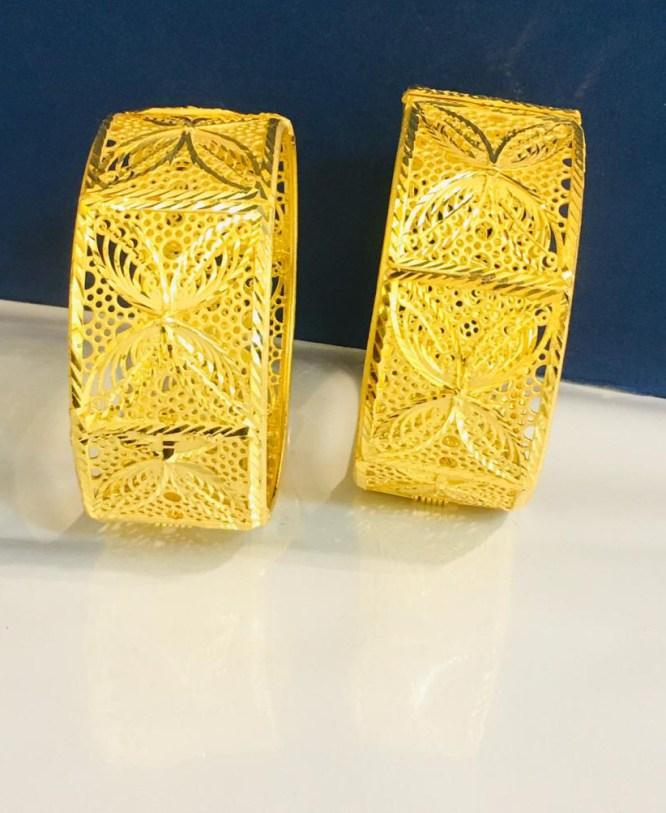 Latest Designer 2 Gram Golden Plated Couple Bangle Jewellery for Women's Parties