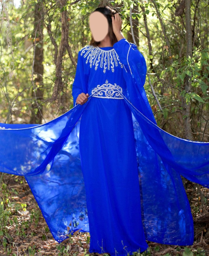 Beautiful Designer Chiffon Kaftan Dress Crystal Stone Work For Women Party Wear