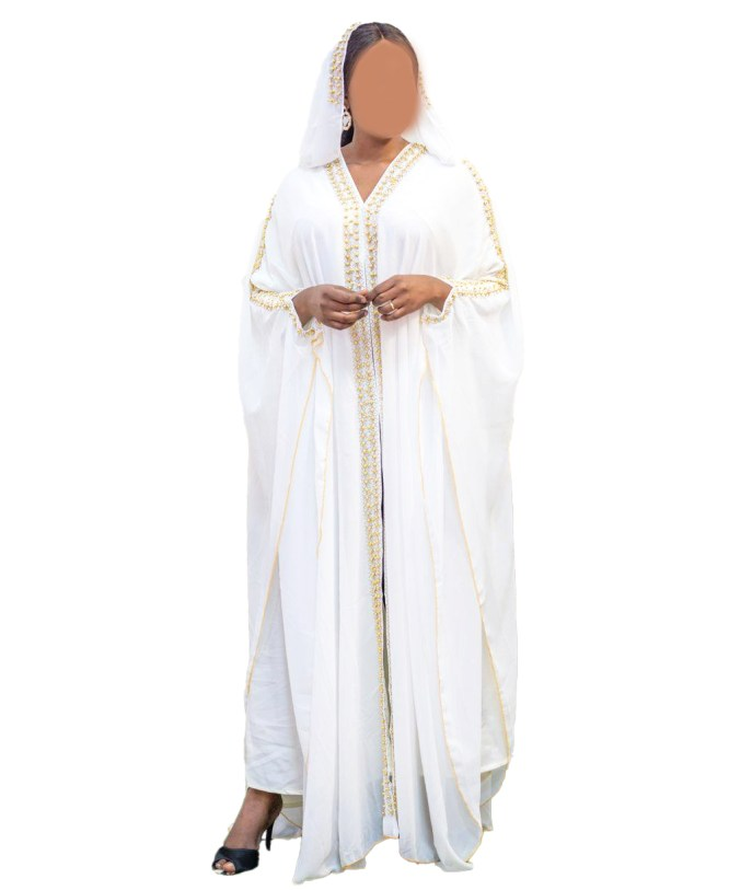 African Latest Premium With Beaded Party Wear Gorgeous Chiffon Kaftan For Women