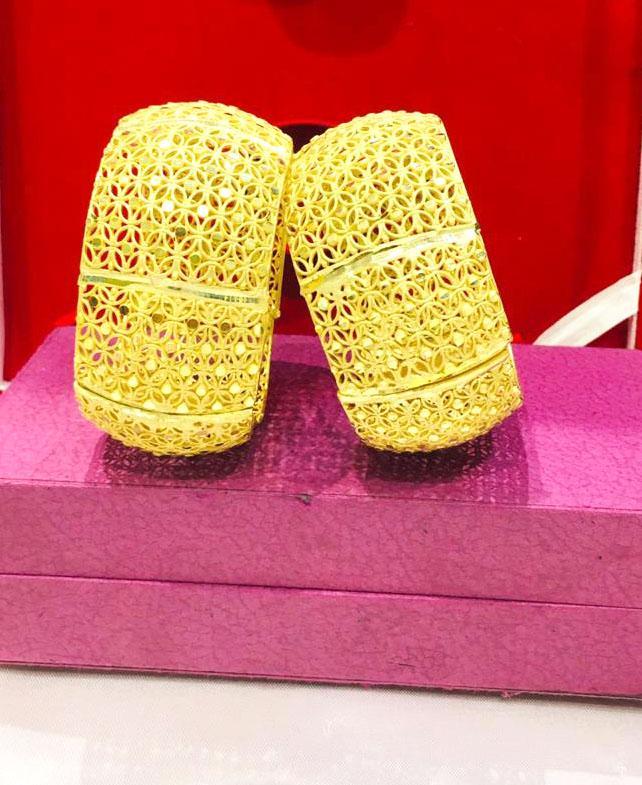 African Fancy 2 Gram Golden Plated Wedding Bangles Set Jewellery for Women