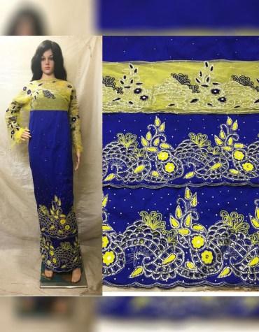 African New Nigerian Beaded Taffeta George Fabric Women Dress Material For Women