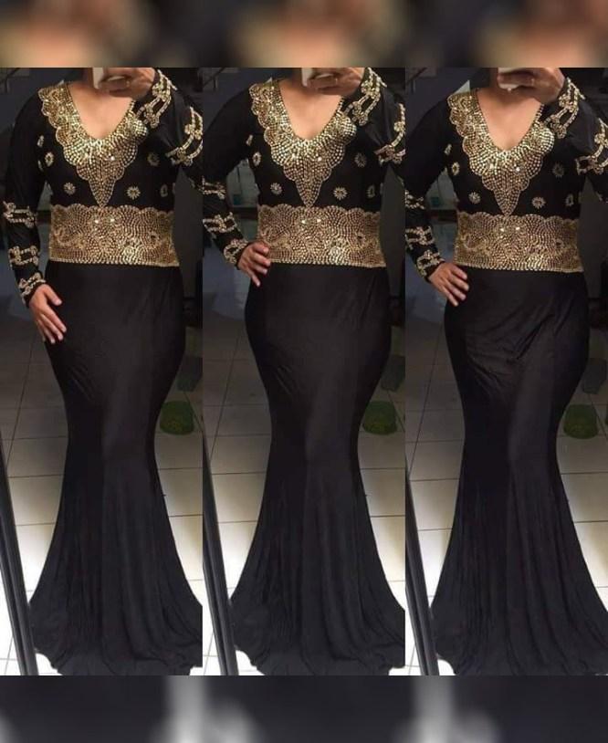 African Elegant Party Wear Spendex Kaftan With Golden Stone Beaded for Women