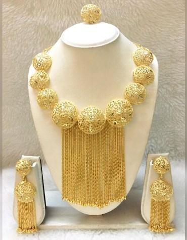 African Elegant Design Party Wear 2 Gram Gold Jewellery Necklace Set For Women