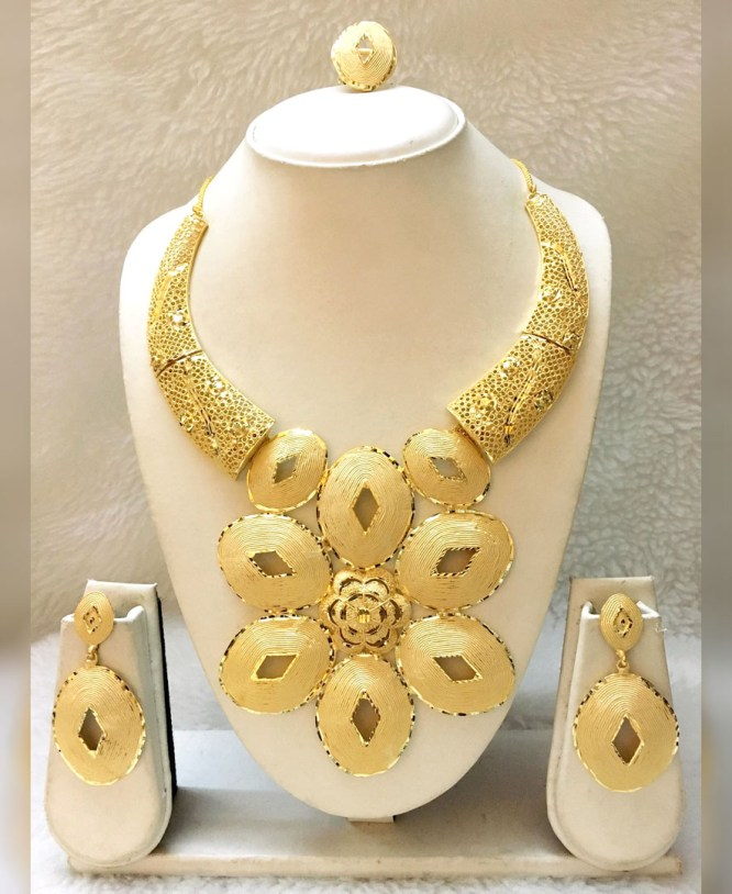 African Latest Trendy Party Wear 2 Gram Gold Jewellery Necklace Set For Women