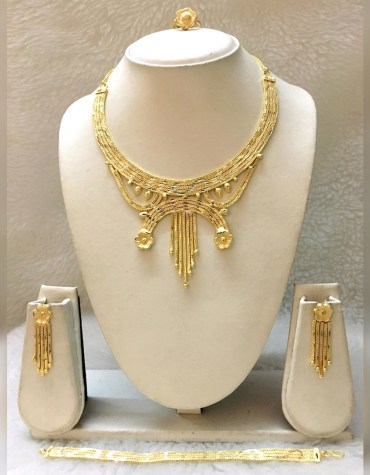 African Latest Party Wear 2 Gram Gold Jewellery Necklace Set With Bracelet For Women