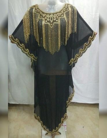 African New Golden Stone Work Beaded Party Wear Chiffon Kaftan For Women
