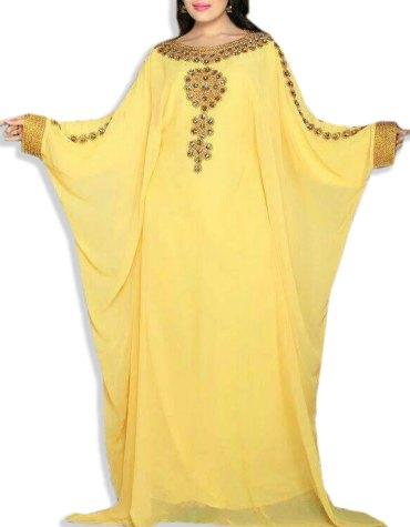 African New Dress Rhinestone Beaded Dubai Design Chiffon Kaftan For Women