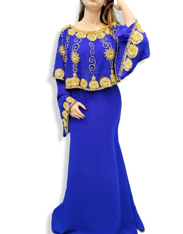African Attire Women Abaya and Evening party Poncho Golden Moroccan Beaded Dubai Kaftan