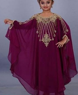 Dresses Hand Work Golden Beaded Kids Chiffon kaftan