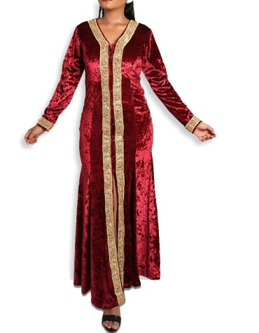 New African Abaya With Golden beaded And Fancy Embroidered Moroccan Dress For Women