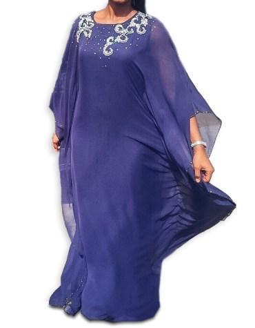 New Elegant Moroccon Kaftan Jalabia Abaya Silver Stone Beaded African Attire Dresses for Women