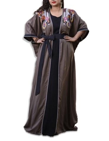 New Elegant Brilliant Long Sleeve Rhinestone Work Kaftan Dubai Beaded Dresses For Women