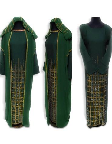 Elegant Brilliant Long Sleeve Rhinestone Work Kaftan Dubai Beaded Dresses For Women