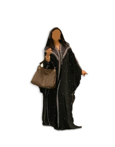New African Attire Long Sleeve Plus Size Black kaftan Dresses Beaded For Women
