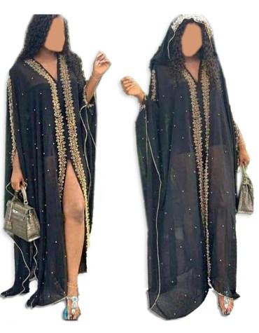 Latest African Gold Beads Formal Hooded Kaftan Party Wear Dubai Dress for Women