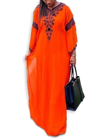 Elegant African Attire Moroccan Beaded Crystal Embroidery Party Wear Dubai Kaftan