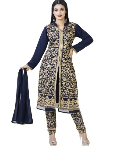 New Latest Golden Zari Work Anarkali Designer Anarkali With Dupatta For Party & Wedding