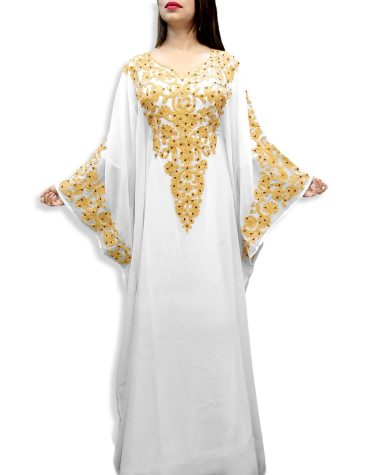 New Elegant Shining White Kaftan with Golden Chiffon Embroidery for Evening Party Wear